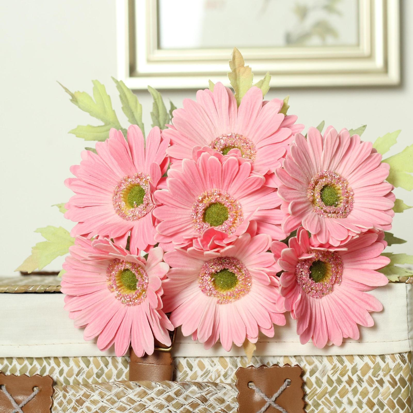 2017 gerbera flower bouquets daisy artificial sunflower for bridal bouquet wedding home decor real touch pu gerbera daisy decorative flower from rogerlin - Home Decor Flowers
