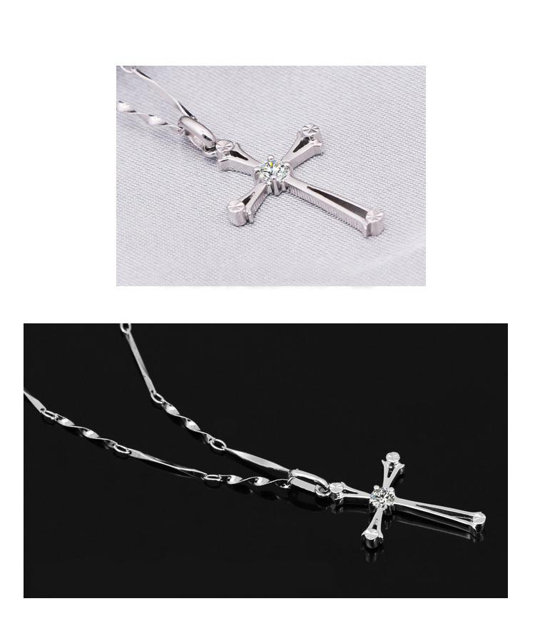 High-quality 925 Sterling Silver crystal Cross Pendant Necklace Fashion Charms Jewelry Top Quality Women Necklaces Cheap price