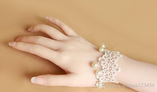 2017 جديد أنيق الرجعية سوار أحدث التصاميم الأبيض المرأة الرباط سوار الخرز الديكور للعروس مجوهرات الجميلة