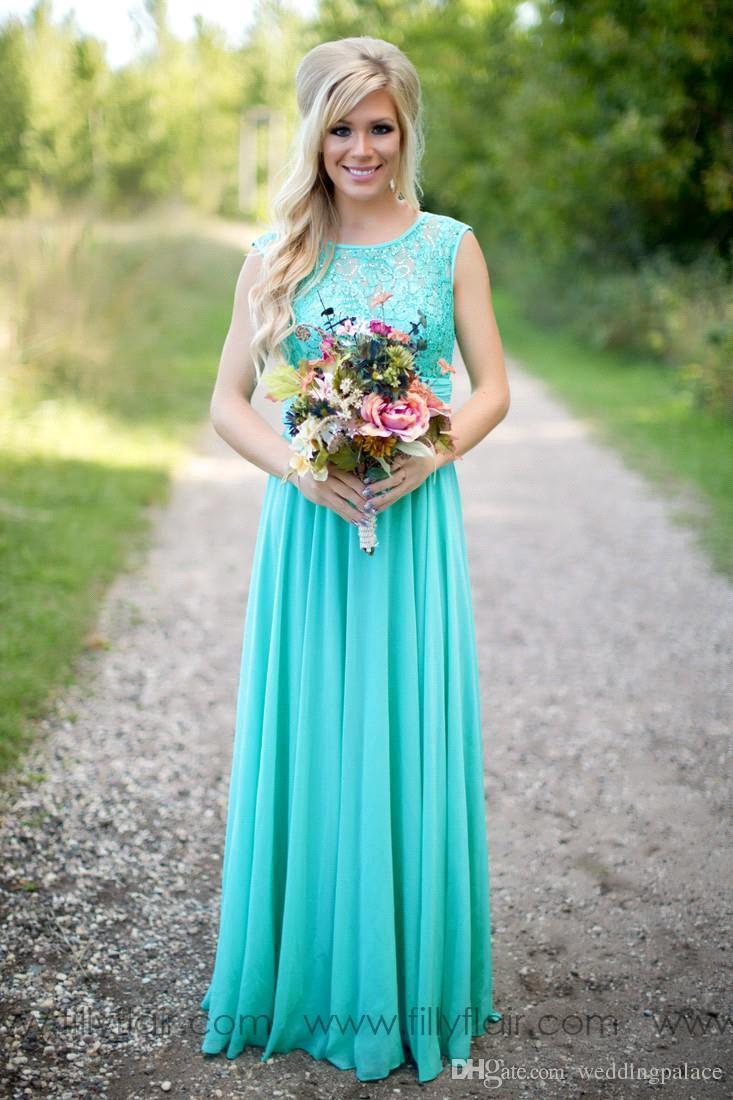 2018 Nouvelle arrivée Turquoise robes de demoiselle d'honneur en mousseline de soie pas cher encolure dégagée parole longueur dentelle V Backless longues robes de demoiselle pour mariage