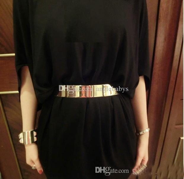 New Fashion Women Full Gold/Silver Metal Mirror Waist Belt Metallic Gold Plate Wide Obi Band With Chains