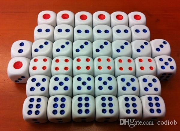 Livraison gratuite !!! 14mm dés 6 dés de dés ordinaire de routine Boson fond blanc rouge points bleus KTV Bar boîte de nuit jeu # N3