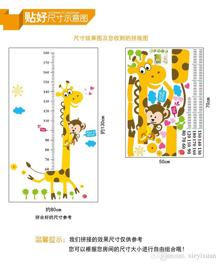 "Of children room decorate wall wallpaper cartoon wallpaper measuring height ""giraffe"" Poster Decorative Stickers High Quality"