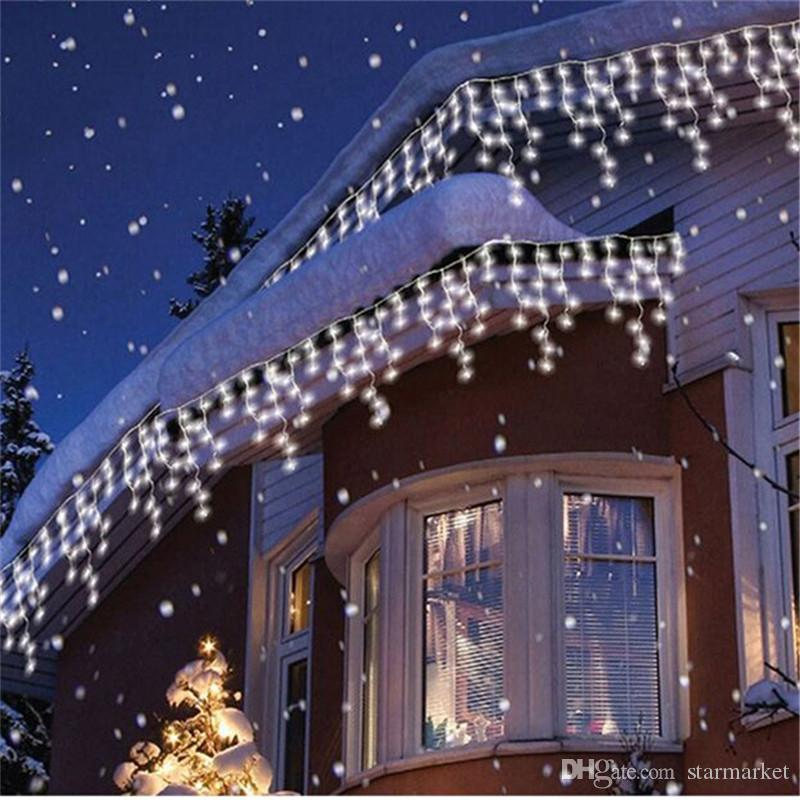 New Year Wave Led Curtain Icicle String Lights Length 3 5m Droopth 0 3m 0 4m 0 5m Outside Roof Lighting Strings For Outdoor Christmas Lights