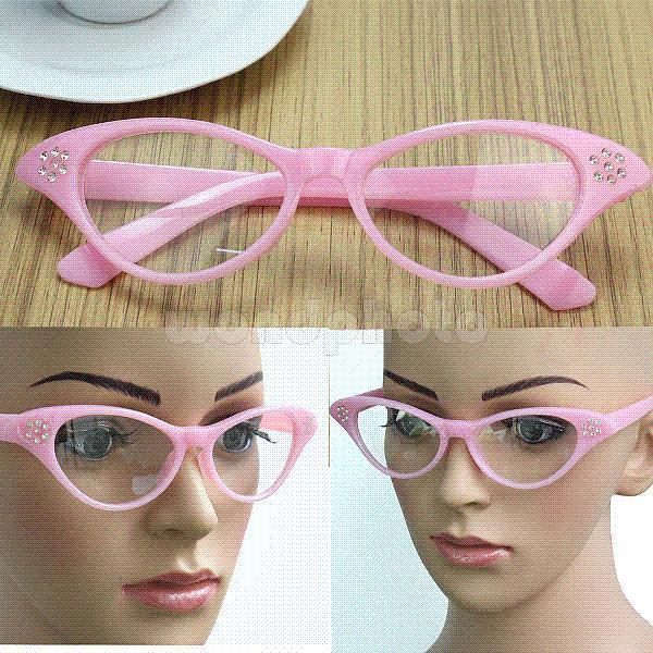 Vintage Plastic Eyeglasses Frame Clear Lens Glasses Plain Spectacles ...
