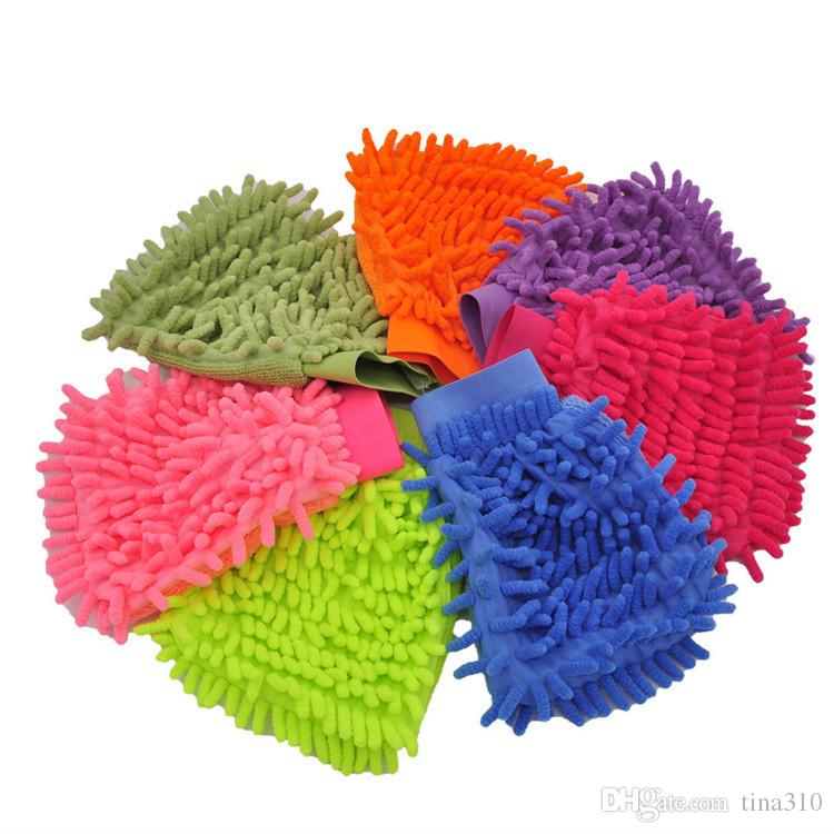 Single side Soft Cleaning Towel High density Coral Washing Gloves chenille Cleaning gloves Car washing supplies IA699