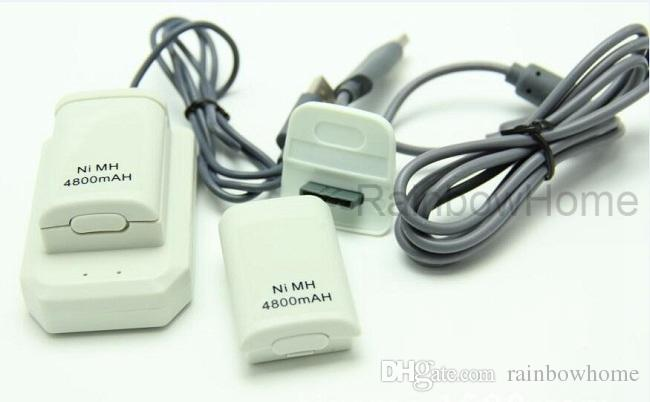 교체 배터리 팩 재생 충전 케이블 키트는 XBOX 360 무선 컨트롤러 XBOX360 게임 패드 충전기 데이터 케이블 블랙 화이트 충전