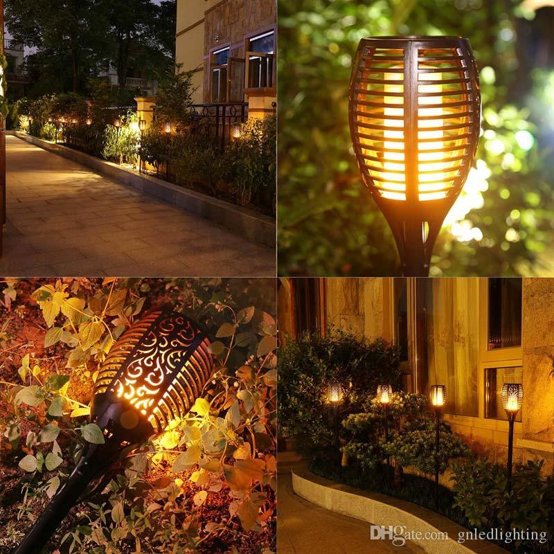 Led Solar Torch Lights Dc 12v Outdoor Garden Waterproof Lawn Lamps 96 Leds Wall Light Flame Bulb Courtyard Landscape Decoration Led Lawn Lamps