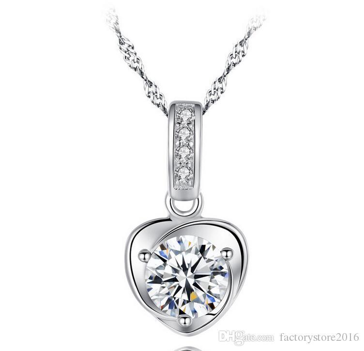 Orecchini in argento sterling 925 Gioielli in argento sterling con ciondolo galleggiante Orecchini con collane in argento bianco con pendente in cristallo austriaco