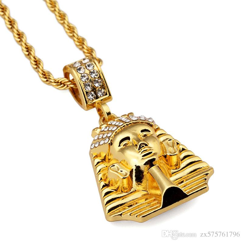 Fashion Men Charm Hip Hop Pharaoh Pendant Necklace Jewelry Stainless Steel 18k Gold Plated 75cm Long Chain Punk Rock Rap