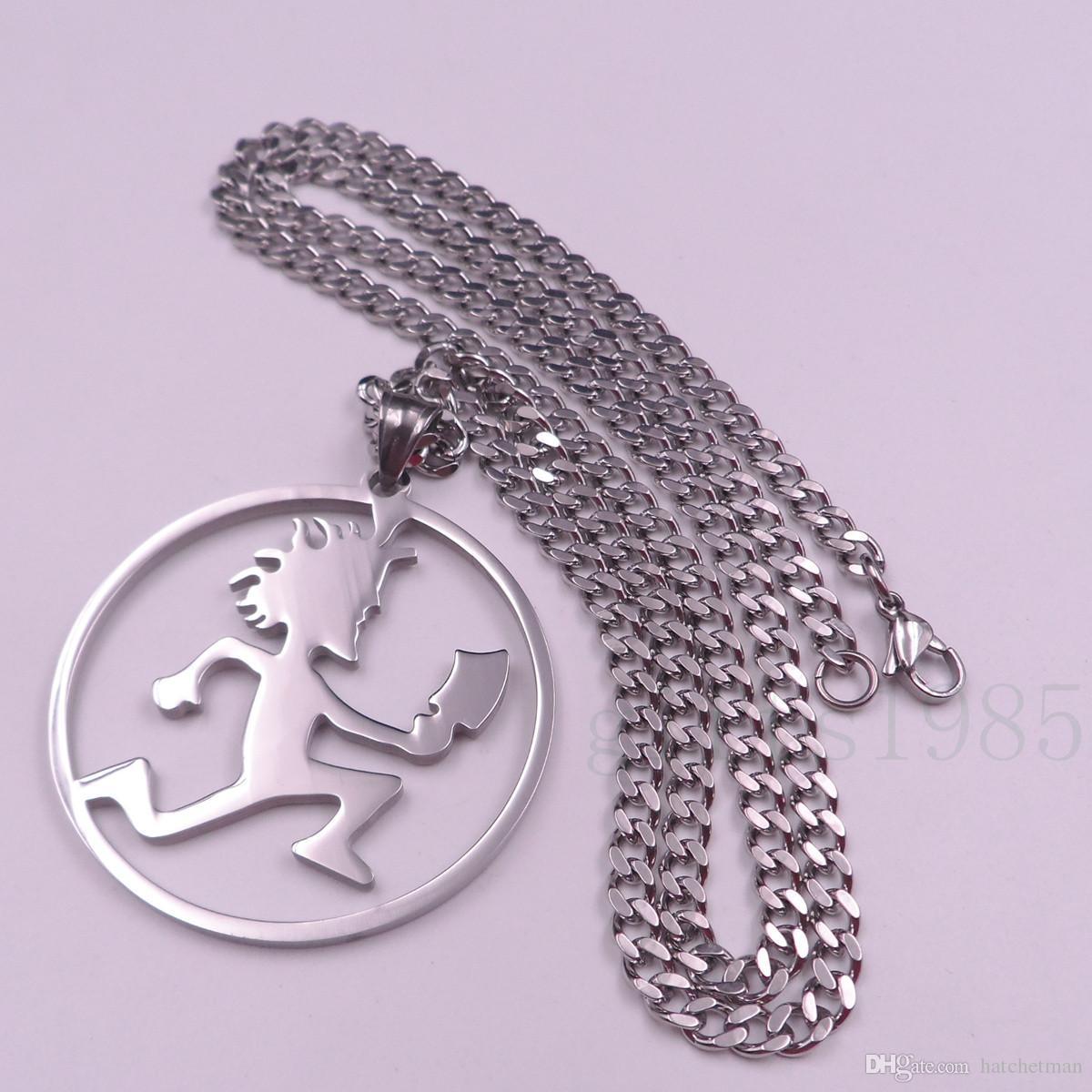 ICP HATCHET MAN CIRCLE CZ PENDANT Cadena de collar de acero inoxidable w30