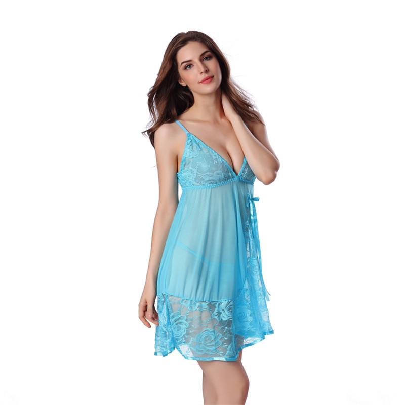 1d0095be1d2 2019 Wholesale New Arrivals Sleepwear Sleep Skirt Women Nightgown Sleeping  Dress And String Set Deep V See Through Night Gown Sleepdress From Primali