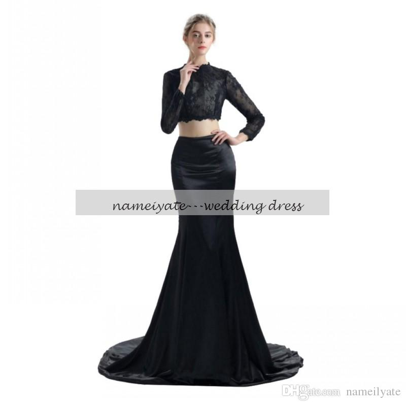 Mermaid / Trumpet High Neck Court Train Black Lace Charmeuse Formal Evening Dress with Lace two pieces