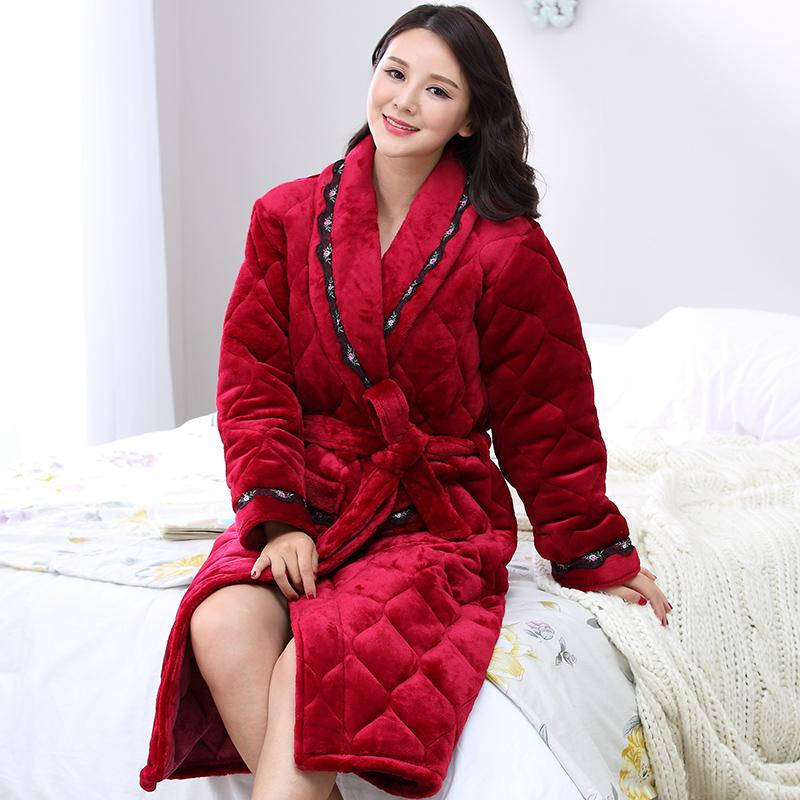 5ffa00ae7a 2019 Wholesale 2016 Winter Warm Nightgown Bath Robe Women Sexy Robe Female  Red Bathrobe Quilted Pajamas Mujer Thick Spa Robe Shower Homewear From  Volontiers ...