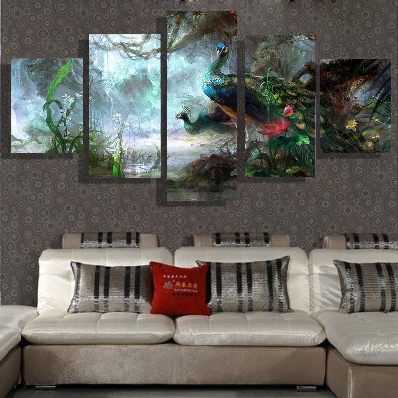 5p moderne hause HD bild ölgemälde leinwanddruck kunst wand wohnzimmer kinderzimmer studie dekoration thema-Pfau kein rahmen