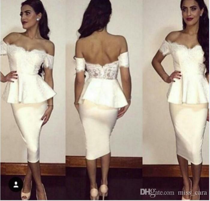 White Tea Length Cocktail Dresses