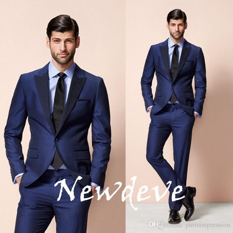 2017 Custom Made New Bright Blue Groom Groomsmen Tuxedos Formal ...