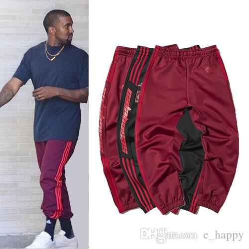 Mode Kanye West Jogger Hosen Saison 4 CALABASAS Streifen Track Pants Männer Rot Schwarz Drawstring Taille Jogginghose Skateboard Bottoms YBG1003