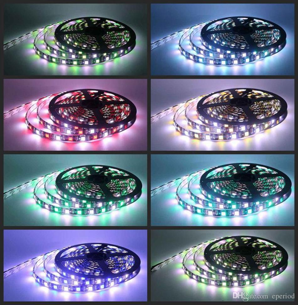RGBW 5050 LED strip Light Waterproof IP65 DC12V SMD 60Leds/M 300 LEDS Flexible Bar tape lamp strips RGB +White/WW DHL free