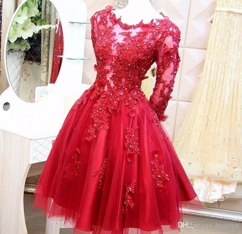 Red Lace Short Ball Gown Prom Dresses Long Sleeve 2017 Illusion ...
