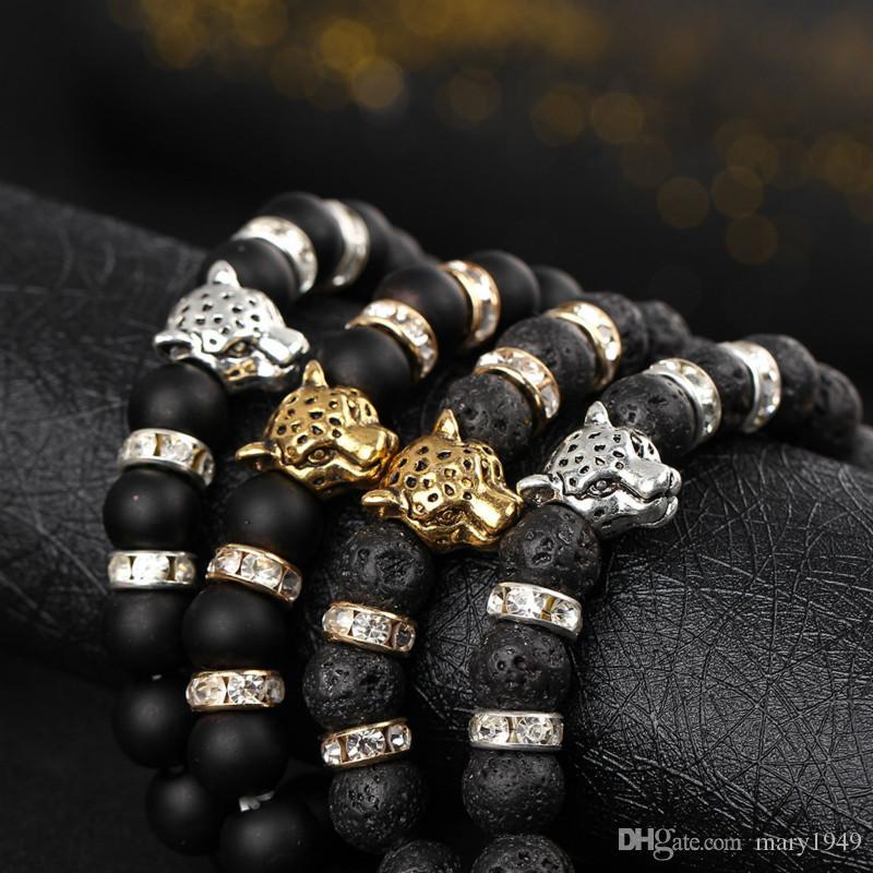 Cuadro rojo jaspe leopardo cabeza Shamballa pulseras de piedras preciosas hombres para hombres