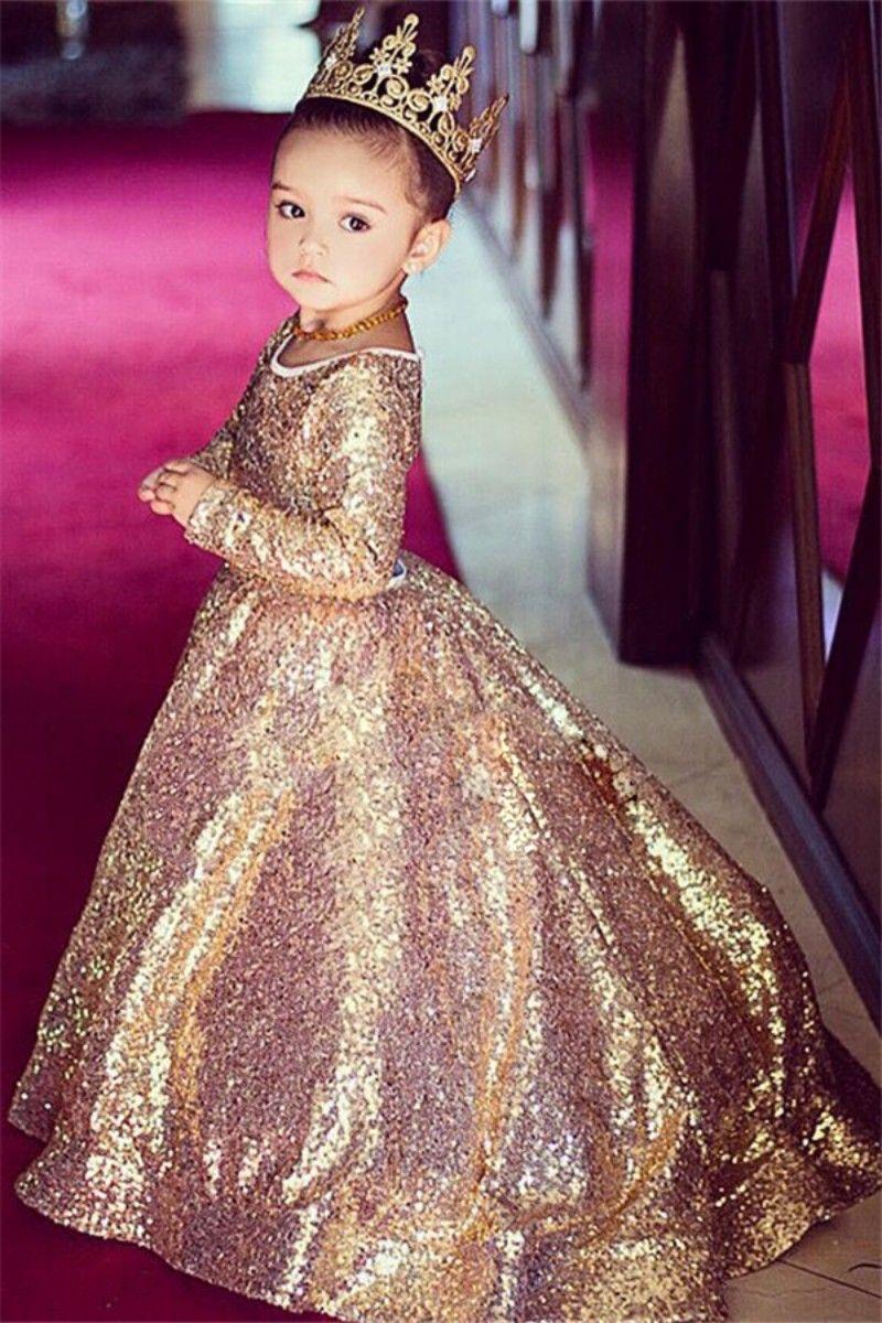 Sparkly Pailletted Girls Pageant Dress Dress Rose Gold Ball Gown Flower Girl Abiti Abiti a maniche lunghe Bambino Abiti da sposa
