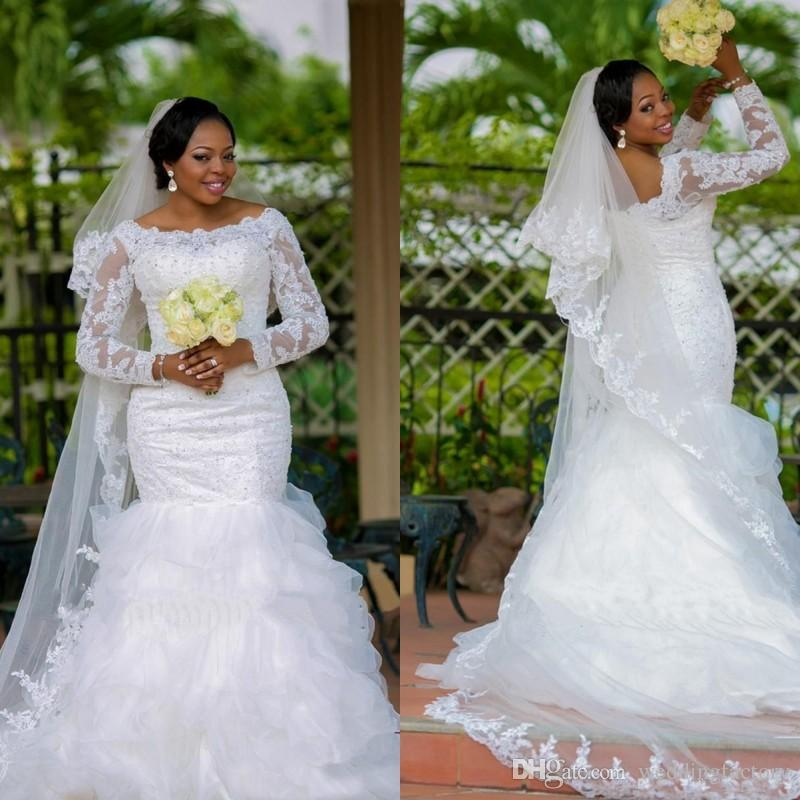 Plus Size White Long Sleeve Lace Mermaid Wedding Dress 2017 Illusion Beaded Appliques Fit And
