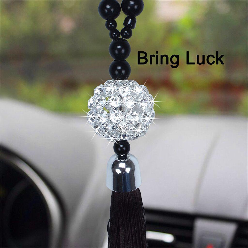 السيارات الداخلية الديكور تألق محظوظ الكرة تجلب الحظ عند قيادة السيارة مرآة الرؤية الخلفية شنقا زخرفة