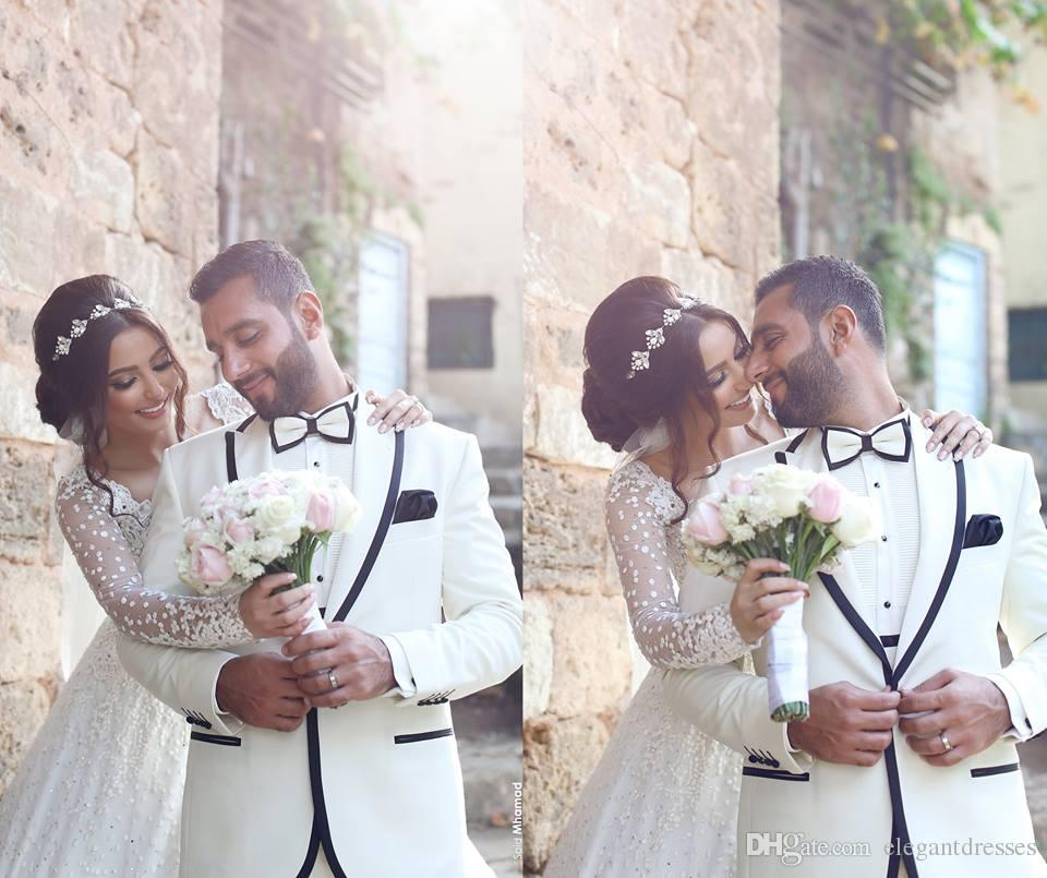 Arabic Full Long Sleeves Bridal Wedding Gowns Ball Gown Princess Sheer Long Sleeves Lace Wedding Dresses 2019 Wedding Dresses Modest Cusotm