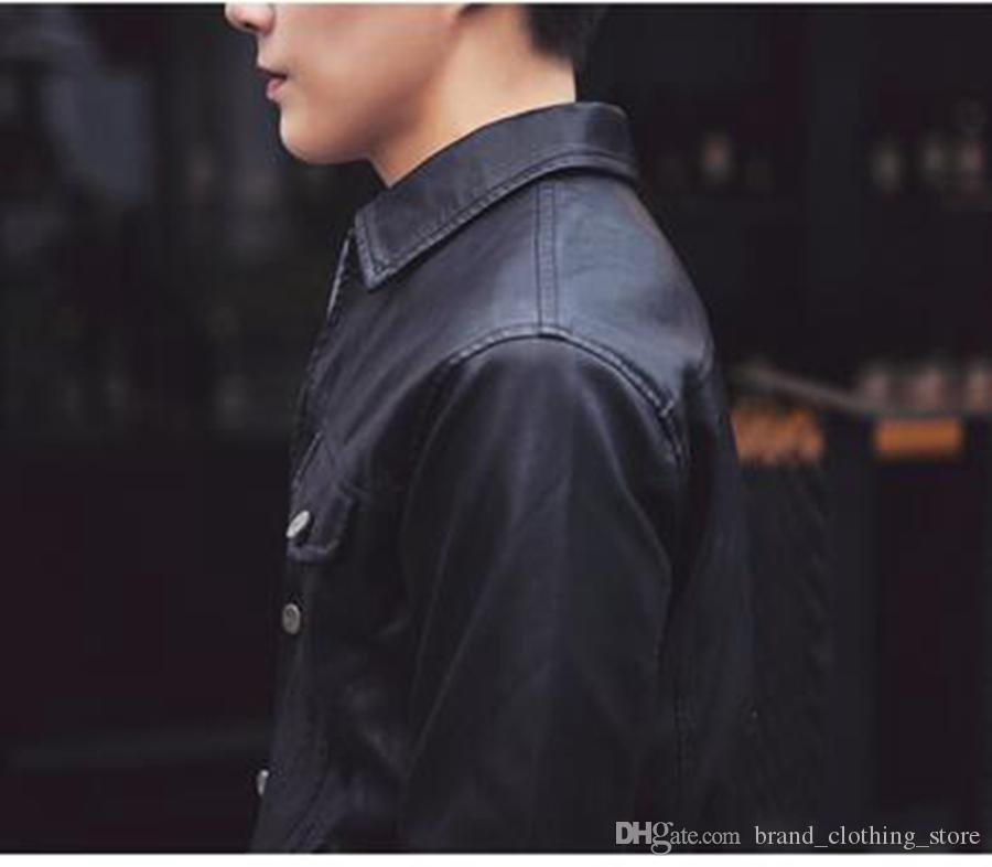 Avrupa Bahar Erkekler rahat moda yeni Kore versiyonu düşük-ince tasarım kısa deri ceket ceket / M-2XL