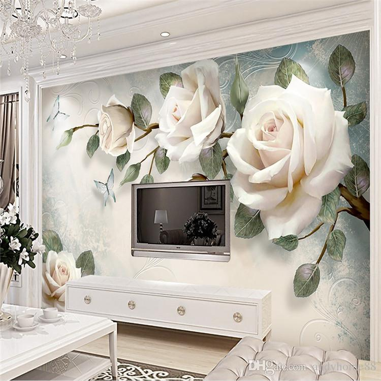 3d European Simple Hand Painted Oil Painting White Rose