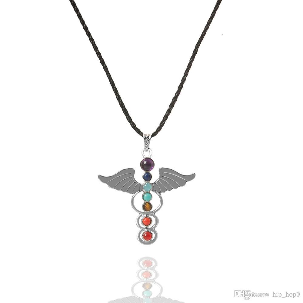 Natural Gemstones Stone Angle Wings Pendant Ball Beads Link Chain Necklace