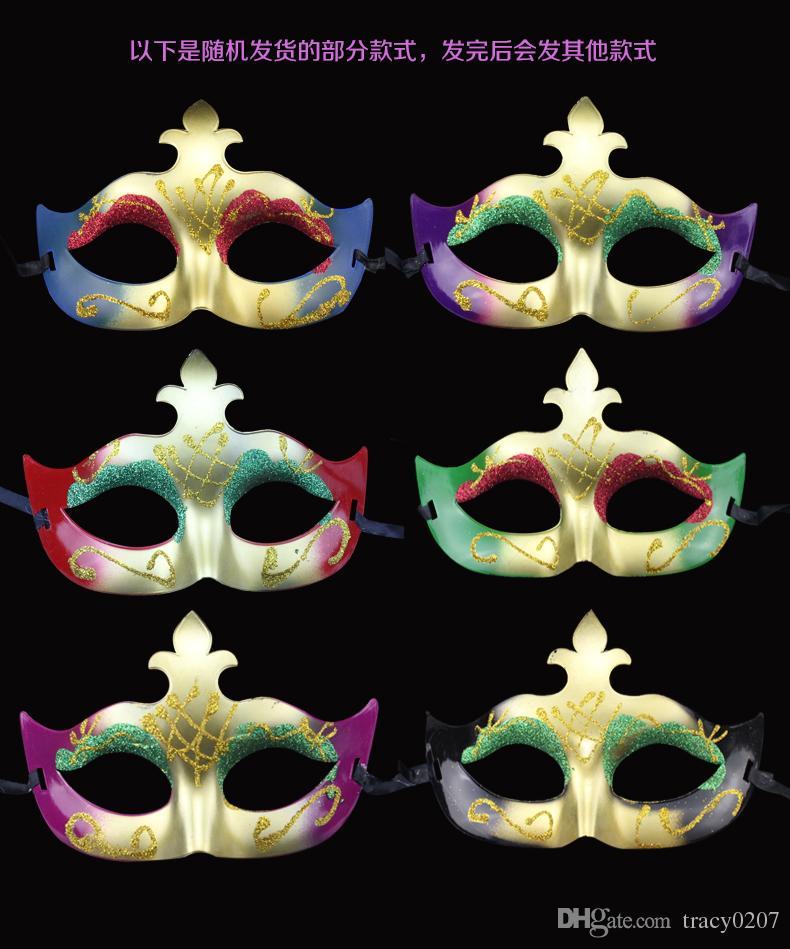 2016 Fashion Women Sexy maschera Hallowmas veneziano maschera gli occhi con polvere d'oro mascherata maschera di Pasqua festa di ballo maschera festa trasporto di goccia