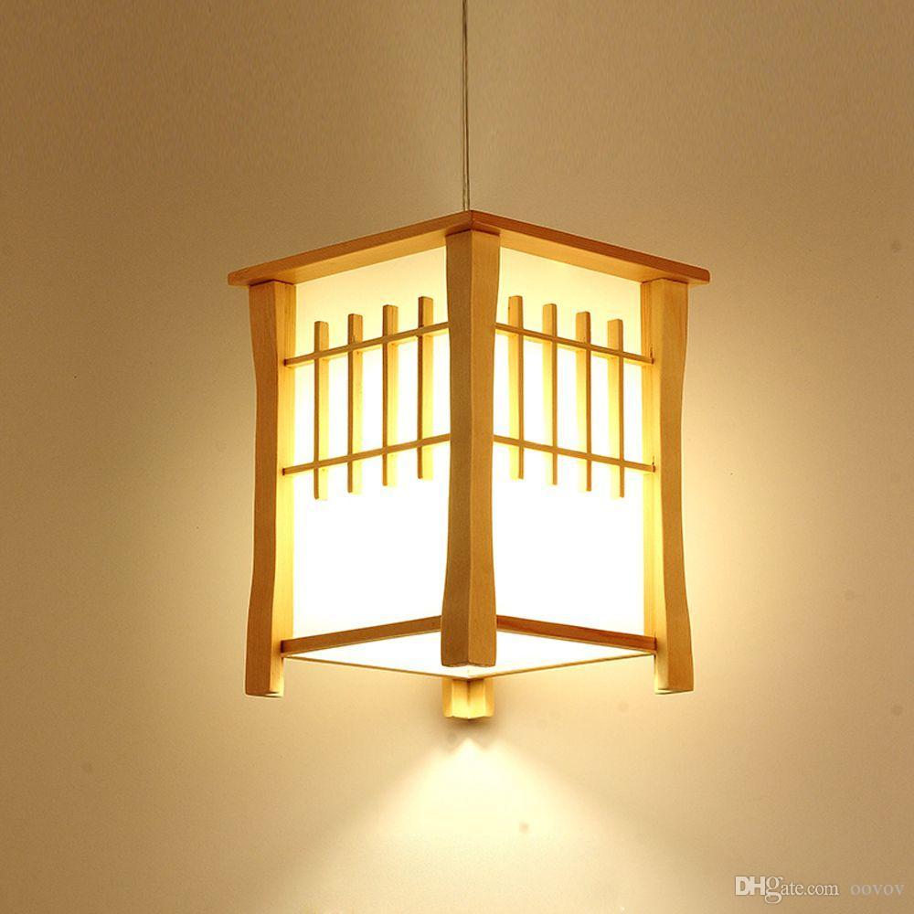 OOVOV Klasik Ahşap Balkon Kolye Lambaları Japon Tarzı Yemek Odası Kolye Işık Koridor Koridor Sarkıt