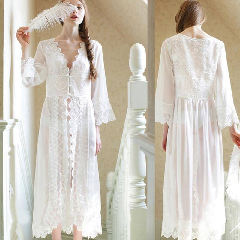 c4897dadcf 2019 Wholesale 2017 New Summer Long White Nightgown Women Sexy Lace  Nightgown Princess Ladies Nightwear Female Sleepwear Home Clothes 2XL 48  From Xaviere