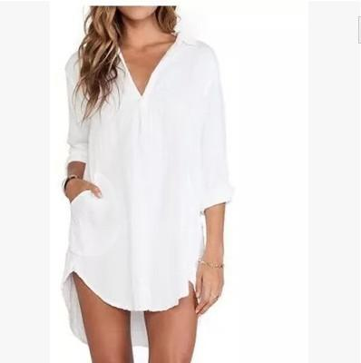 1132c5c74bc215 2019 2016 New Sexy Women Sheer White Shirts Dress Long Sleeve Pocket Casual Blouse  Tops Plus Size From Nbkingstar
