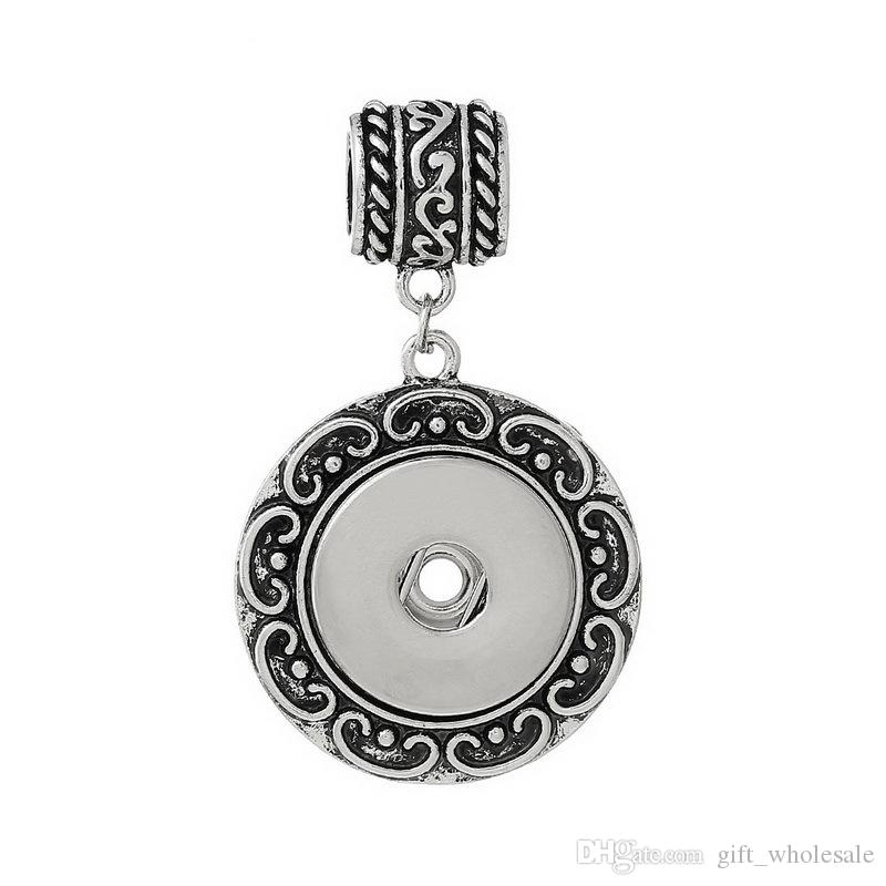 wholesale 3 styles 2018 newest fashion round noosa chunk necklace pendent charms fit snaps buttons