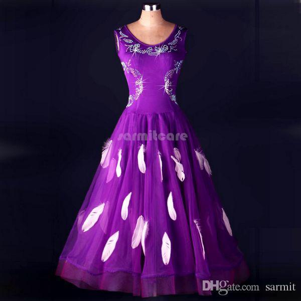 Vestidos de baile de salón Vestidos de salón Vestimenta de competencia Trajes de baile de tango Disfraces D0253 Piedras de Strass Plumas Big Sheer Hem