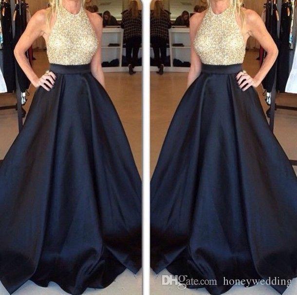 Fashion Long Prom Dresses 2016 Halter Neck Sequins Draped Navy Blue Long Women Formal Dress Gowns Evening Wear Custom Made