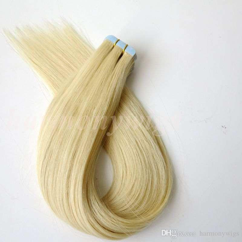 50g Tape In Human Hair Extensions 18 20 22 24inch #613/Beach Blonde color Adhesive Skin Wefts PU Tape Hair