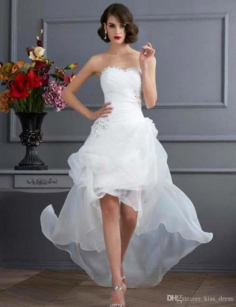 2703a0b9c Discount 2019 Summer High Low Casual Wedding Dresses Strapless Beaded  Organza Short Front Long Back Bridal Gowns Custom Made Unique Wedding  Dresses Wedding ...