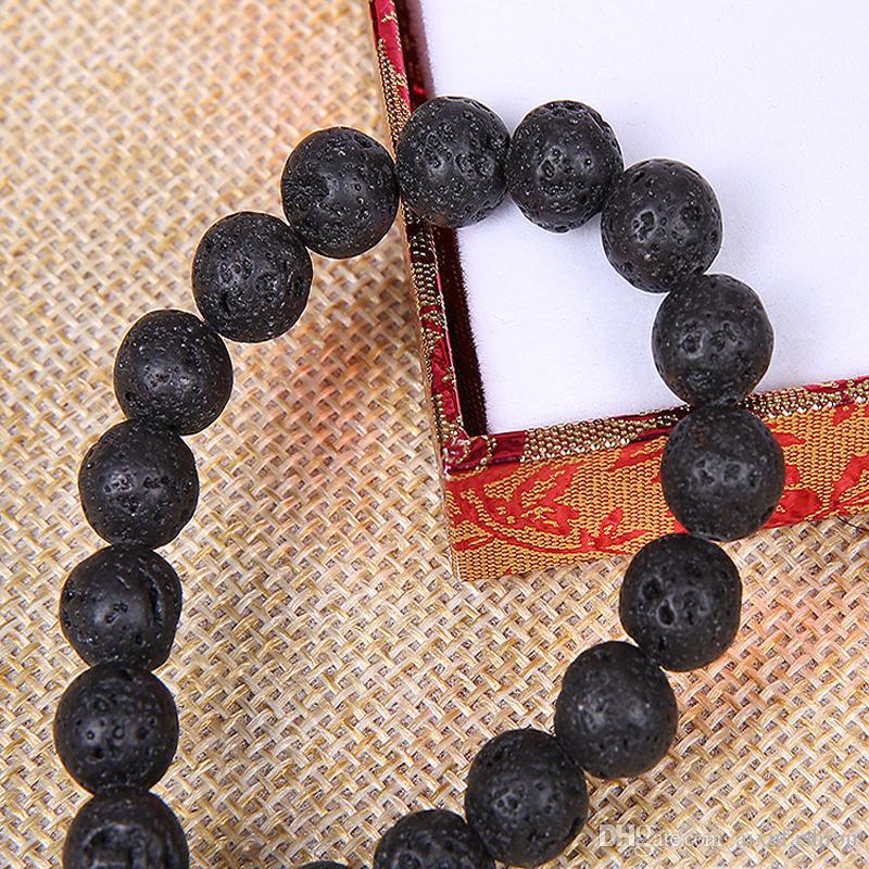 4 6 8 10 12mm Naturel Pierre de Lave Perles Noir Volcanique Pierre Ronde Pierre Perles Lâches Pour BRICOLAGE Bijoux Bracelet Fabrication En Gros
