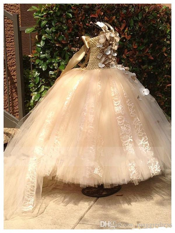 Sparkling Spaghetti Handmade Flower Flowergirl Dresses Gold Bow Belt Bead Princess Kids Floor Length Bridesmaid Dress Girl Pageant Ballgown