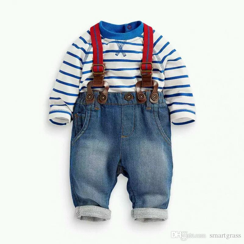 Sets Boys Suits Spring Autumn Baby Boy Cotton Basque Shirts and Jeans Suspenders Baby Boy Clothes Sets 17090601