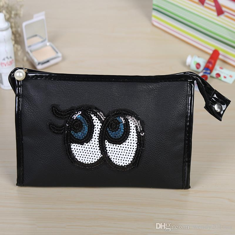 New Cheap price big eyes candy women storage bags PU square cosmetic bag waterproof fashion travel stuff sacks