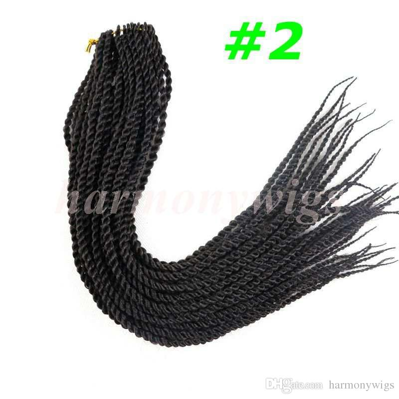 Kanekalon Synthetic braiding hair 2X Crochet braids 22inch 100g Ombre two color Senegalese Twist hair extensions