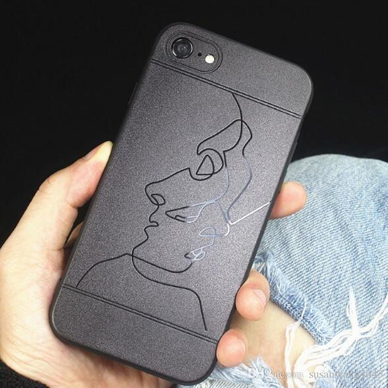 luxury new phone case for iphone7 iphone 8 7 6 6s plus iphone casesluxury new phone case for iphone7 iphone 8 7 6 6s plus iphone cases tpu hard case imd matting abstract line cover fashion show gsz382 cell phones cases