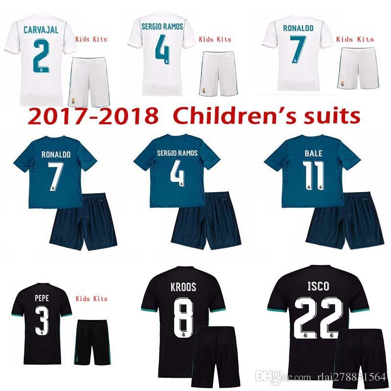 c7200bcfbc3 17 18 Kids Kit Real Football Jersey Home White Away Black Boy Soccer ...