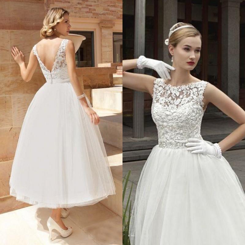 2015 Vintage Tea Length Wedding Dress A Line Lace Tulle