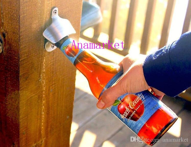 Barra de montaje en la pared de acero inoxidable de moda caliente barra de vidrio de soda de cerveza tapa del abrebotellas herramienta de cocina 30 unids / lote